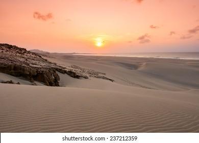Sunset on sand dunes  in Chaves beach Praia de Chaves in Boavista Cape Verde - Cabo Verde