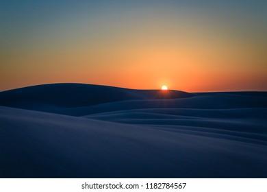 Sunset on sand dunes in the Lençois Maranhenses, State of Maranhenses, city of Barreirinhas, Brazil