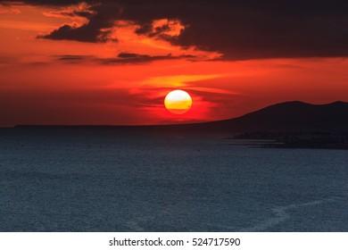 Sunset on the sea. Arrecife, Lanzarote, Canary Islands