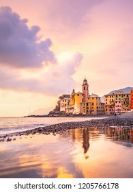 Sunset on the sea, Camogli, Liguria, Italy