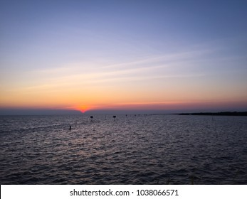 Sunset on the sea at Chachoengsao Province, Thailand