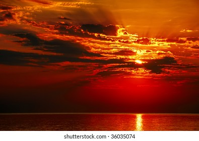 Sunset on the sea with clouds