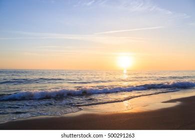 Sunset on the sea, coast of Alanya Turkey