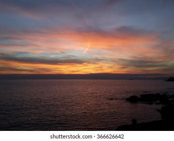 sunset on The Sea in Genoa