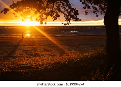 Sunset on the sea Gulf of Finland Baltic sea dramatic sky reflections on the water orange red sky yellow summer sun background desctop wallpaper twilight autumn