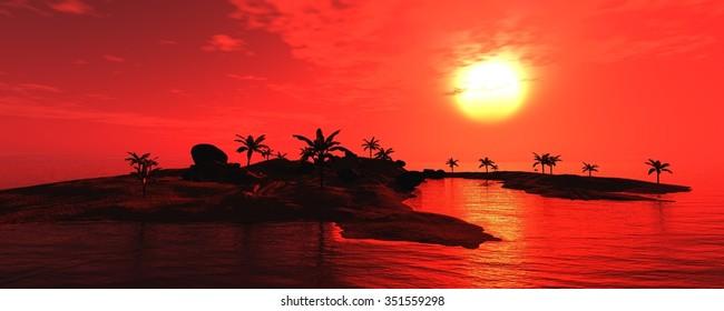 sunset on the sea. Island. seascape.