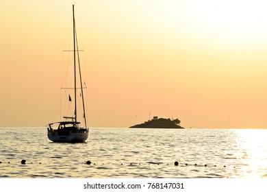 Sunset on the Sea in Istria. Croatia.Europe.