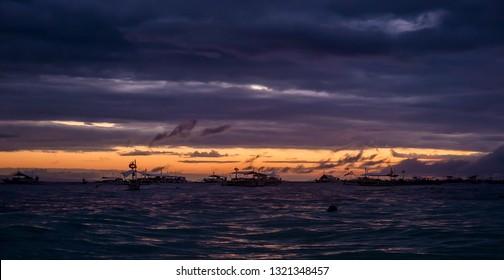 Sunset on the sea. Philippine Panglao