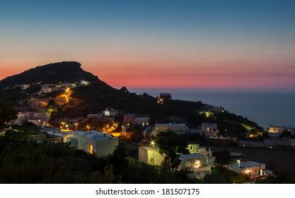 Sunset on sea Ponza Island