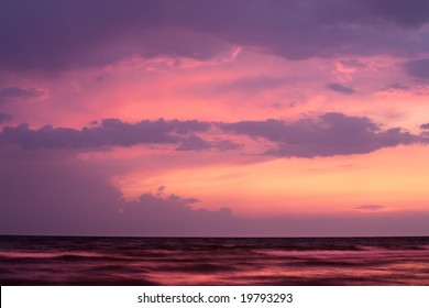 Sunset on sea with purple sky. Black Sea, Russia