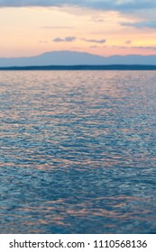Sunset on the sea, shallow depth of field