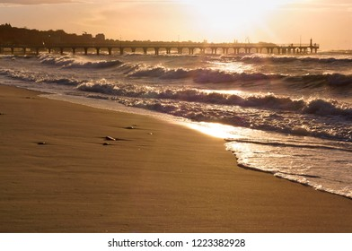 sunset on the sea, sunrise on the coast, purple sky at sunset