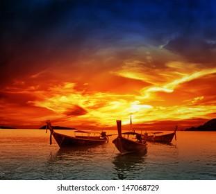 Sunset on sea in Thailand