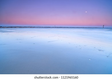 Sunset on the sea view with full moon
