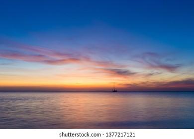 Sunset on sea in Zanzibar