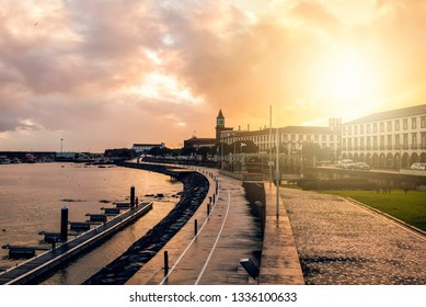 Sunset on the seafront of Ponta Delgada, Azores Islands.