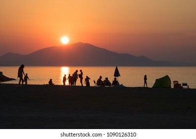 Sunset on the seashore of Pefki, Island of Evia, Greece