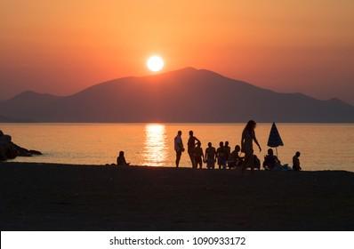 Sunset on the seashore of Pefki, Island of Evia, Greece