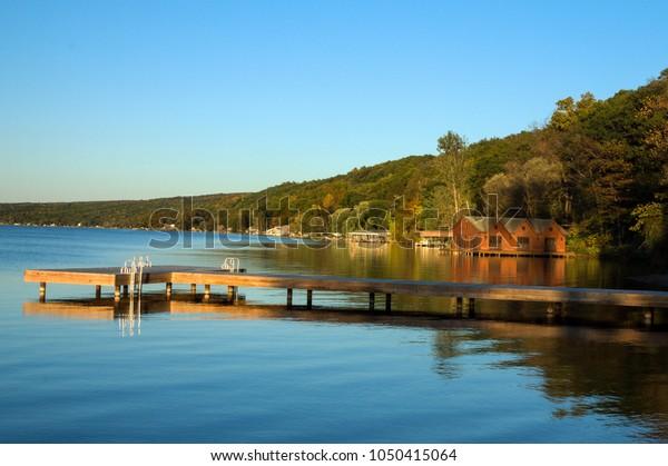 Sunset on Seneca Lake at Watkins Glen,New York.   Destination the Finger Lakes Wine Region
