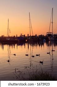 Sunset on the shore of Lake Michigan at Leland, Michigan