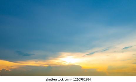 Sunset on sky background