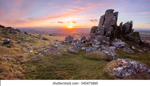 Sunset on Sourton Tor Dartmoor National Park Devon Uk