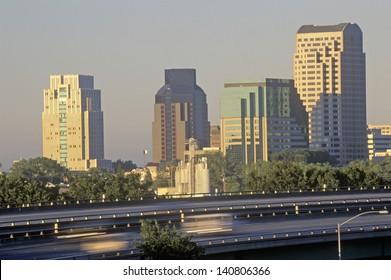 Sunset on the state capital, Sacramento, California
