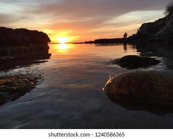 Sunset on a stony coast on March at Kandira, Kocaeli, Turkey...