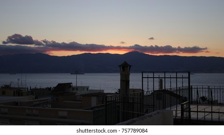 Sunset on the strait of Messina