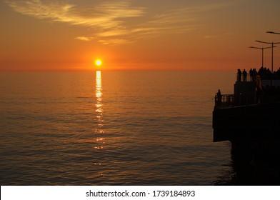 Sunset on a summer day in Vergara pier Viña del mar Chile
