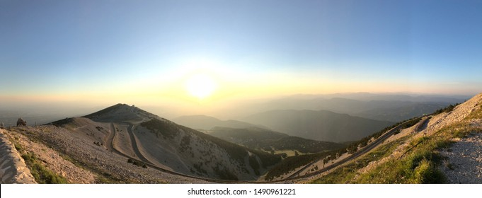 Sunset on a summer's evening from the summit of Mont Ventoux in Provence, France.