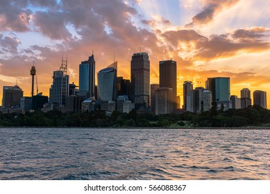 Sunset on the Sydney City Australia.JAN 29,2017 The City of Sydney is the local government area covering the Sydney central business district.