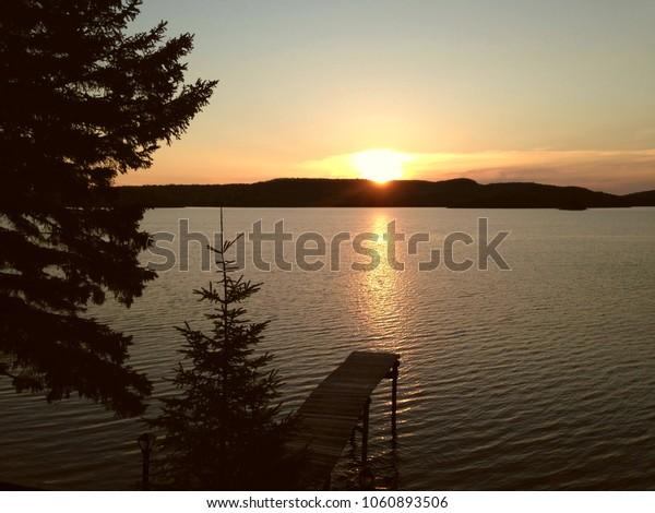 Sunset on Taureau lake, Quebec, Canada