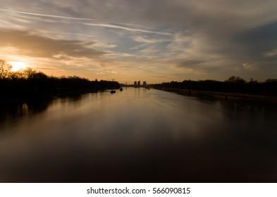 Sunset on Thames river near Battersea Park