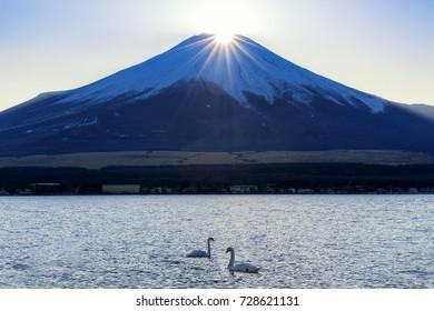 Sunset on the top of Fuji Mountain called Diamond Fuji at Yamanaka Lake with Two Swans