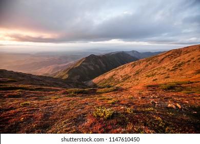 Sunset on top of Lopatin Mountain, Sakhalin Island