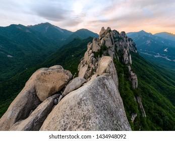 Sunset on top of Ulsan mountain - Korea Seoraksan National Park
