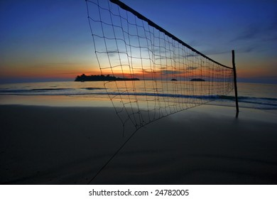 Sunset on tropical beach. Siam bay. Province Trat. Koh Chang island. Kingdom Thailand