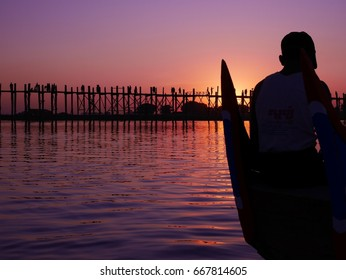 Sunset on U Bein bridge from a boat