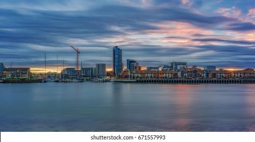 Sunset on the UK's south coast at Southampton