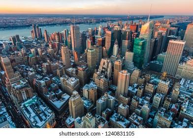 Sunset on upper Manhattan neighborhood in New York City, United States of America.