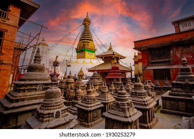 Sunset on a very special holiday at Swayambhunath.