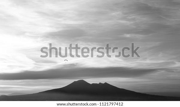 sunset on the vesuvio in black and white