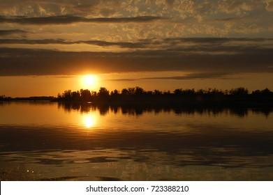 Sunset on the Volga river, Russia, Astrakhan
