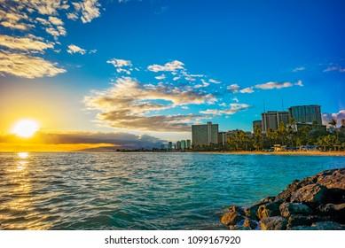 Sunset on Waikiki Beach, Honolulu, Oahu, Hawaii