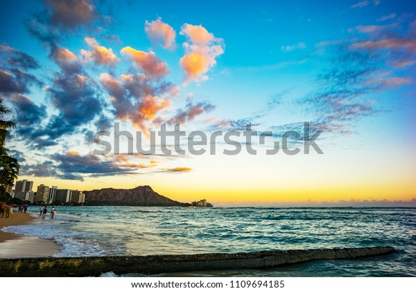 Sunset On Waikiki Beach Honolulu Oahu Stock Image Download Now
