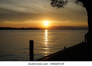Sunset on water landscape scenery