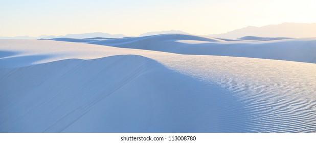 Sunset on white sands desert