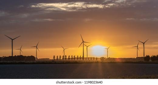 Sunset on Wind Farm