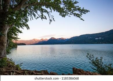 Sunset on Wolfgangsee - lake in Salzburg Austria